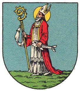 Den hellige Ulrik på våpenskjoldet til Zeismannsbrunn, en forstad til Wien i Østerrike