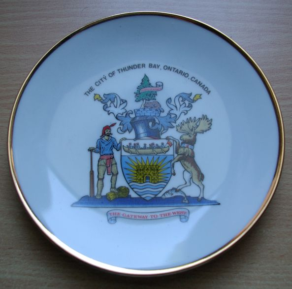 Plate with the arms of Thunder Bay, Canada