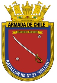 Coat of arms (crest) of the Marine Infantry Battalion No 21 Miller, Chilean Navy