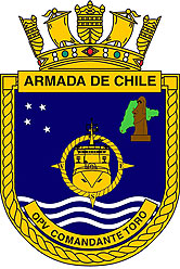 Coat of arms (crest) of the Ocean Patrol Vessel Comandante Toro (OPV-82), Chilean Navy