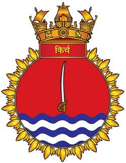 Coat of arms (crest) of the INS Kirch, Indian Navy