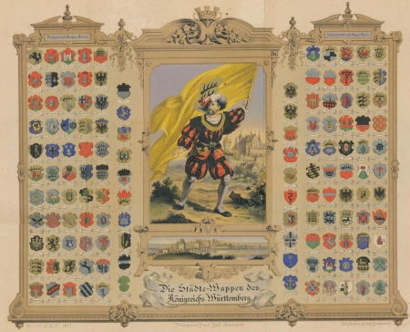 A poster from 1877 showing the arms of cities in Württemberg