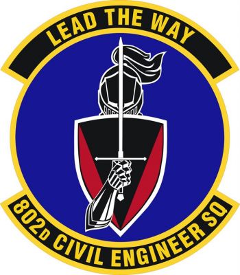 Coat of arms (crest) of the 802nd Civil Engineer Squadron, US Air Fore