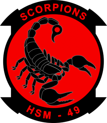 Coat of arms (crest) of the Helicopter Maritime Strike Squadron 49 (HSM-49) Scorpions, US Navy