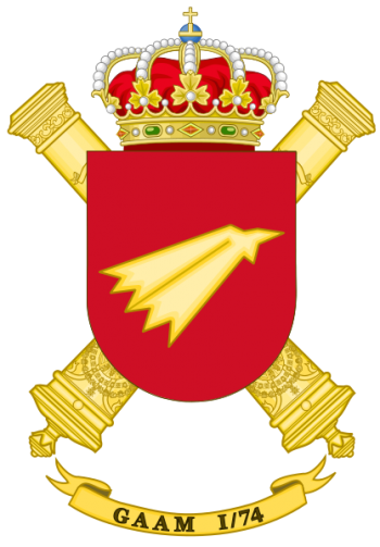 Coat of arms (crest) of the Air Defence Artillery Group I-74, Spanish Army