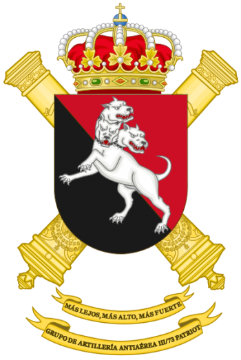 Coat of arms (crest) of the Patriot Air Defence Artillery Group III-73, Spanish Army