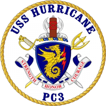 Coat of arms (crest) of the Coastal Patrol Ship USS Hurricane (PC-3)